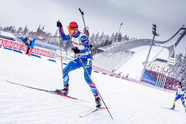 Český biatlonista Michal Šlesingr při stíhacím závodu mužů na MS v Oslu.