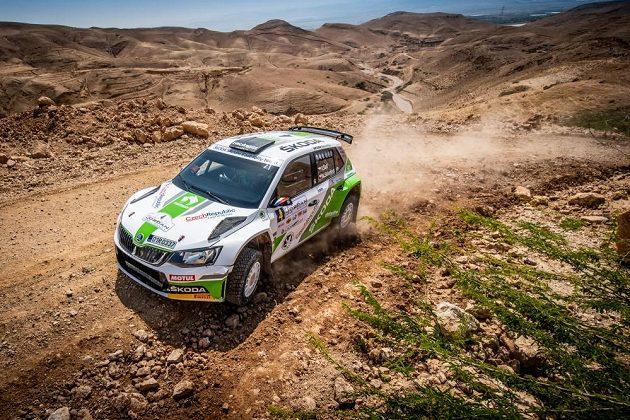 Vojtěch Štajf se Škodou Fabia R5 na trati Jordánské rallye.