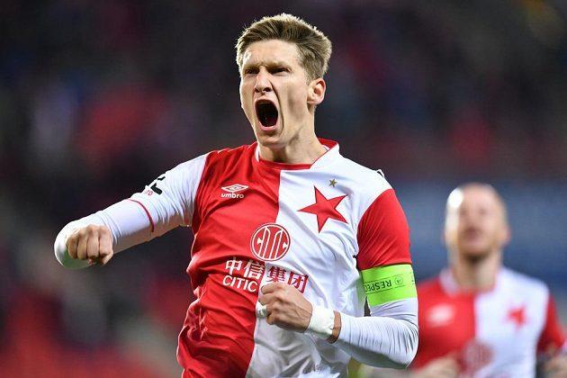 Útočník Slavie Milan Škoda se raduje z úvodního gólu proti Slovácku.