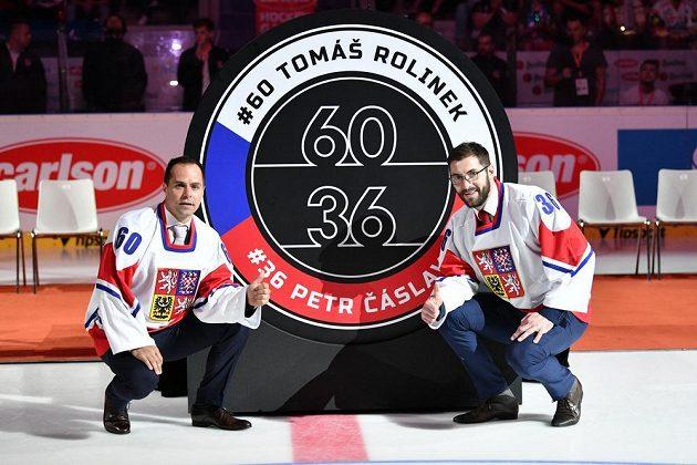 Zleva Tomáš Rolinek a Petr Čáslava se před utkáním s Ruskem loučili v Pardubicích s reprezentací.