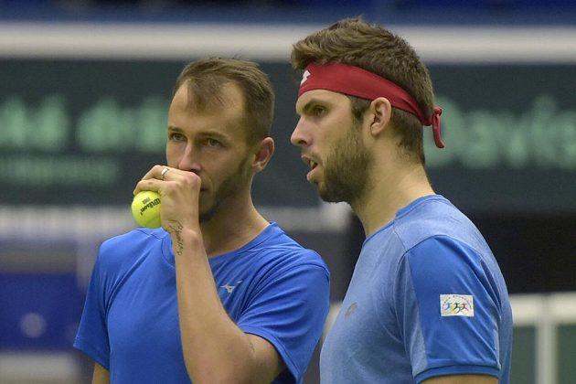 Tak co na ně vymyslíme? jako by si říkali Lukáš Rosol (vlevo) a Jiří Veselý při klíčovém deblu proti Nizozemsku.