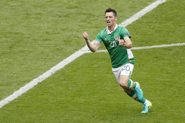 Wes Hoolahan z Irska se raduje z gólu proti Švédsku.