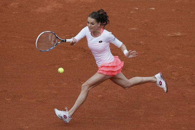 Polská tenistka Agnieszka Radwaňská v úvodním kole French Open proti Bojaně Jovanovské.