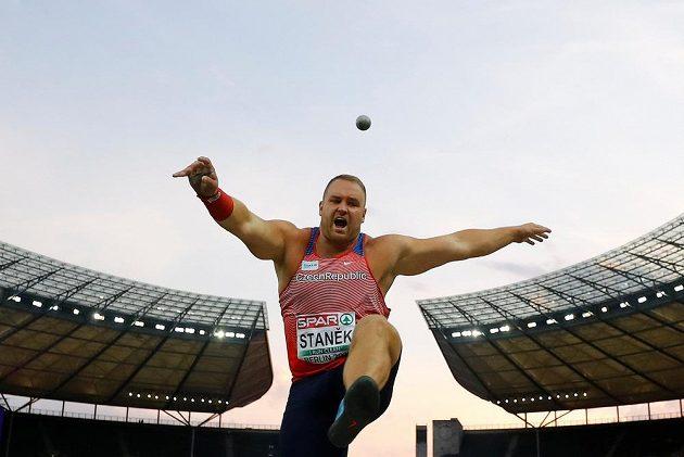 Český koulař Tomáš Staněk ve finále vrhu koulí na ME v Berlíně.