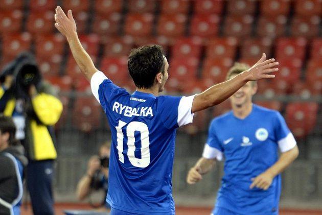 Liberecký Sergej Rybalka oslavuje vítězný gól v odvetě třetího předkola Evropské ligy v Curychu.
