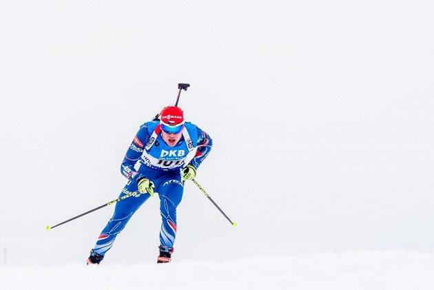 Český biatlonista Michal Krčmář během sprintu na MS v Oslu.
