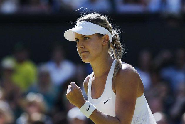 Kanadská tenistka Eugenie Bouchardová se raduje z postupu do finále Wimbledonu.