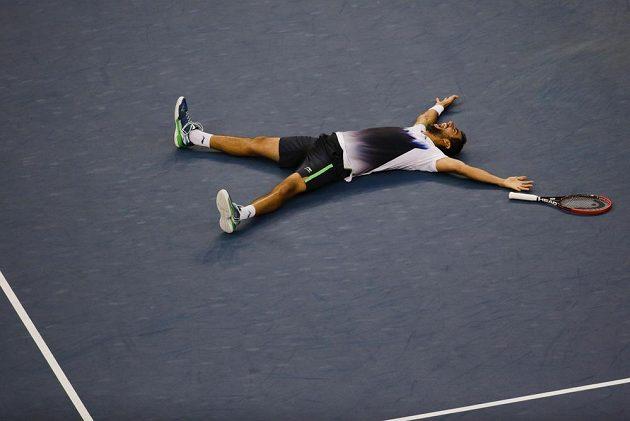 Marin Čilič bezprostředně poté, co porazil ve finále Japonce Keie Nišikoriho.