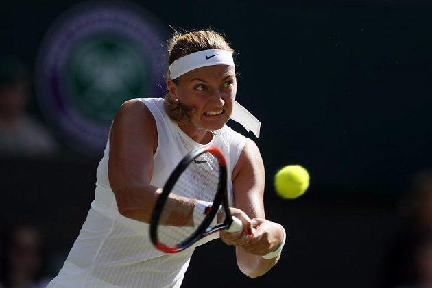 Petra Kvitová během duelu prvního kola Wimbledonu