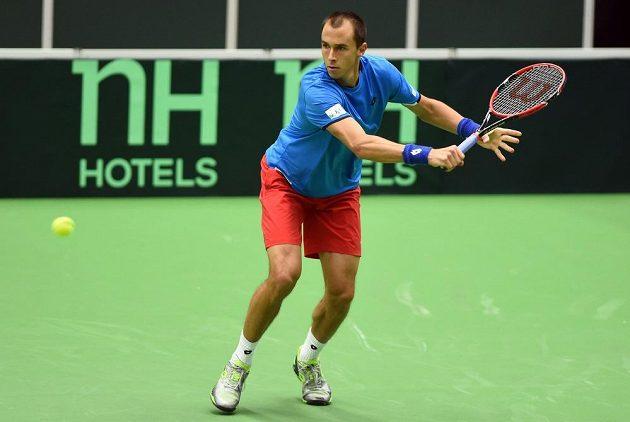 Český tenista Lukáš Rosol v zápase proti Thanasimu Kokkinakisovi.