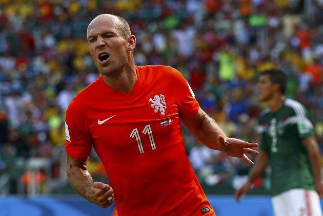 Nizozemský fotbalista Arjen Robben v utkání osmifinále MS proti Mexiku.