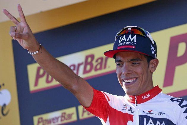 Jarlinson Pantano z Kolumbie se raduje po výhře v 15. etapě Tour de France.