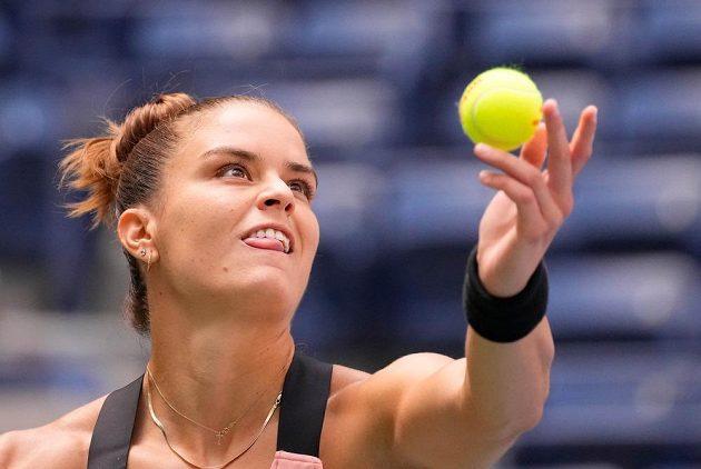Řecká tenistka Maria Sakkariová v zápase 3. kola US Open proti Petře Kvitové.