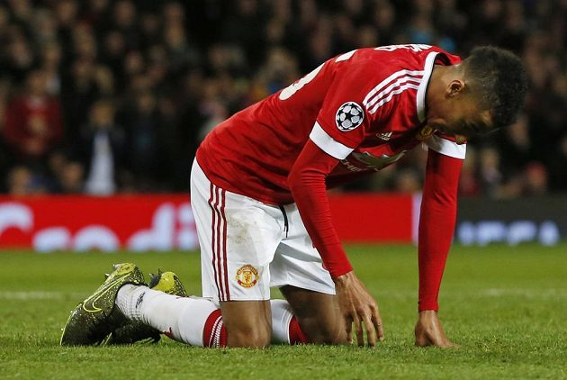 Zklamaný Jesse Lingard z Manchesteru United po nevyužité šanci.
