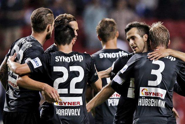Radost fotbalistů Jablonce po vítězství nad FC Kodaň.
