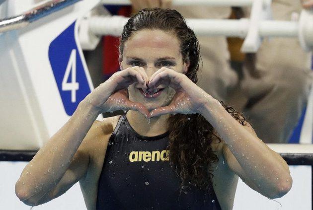 Radost maďarské plavkyně Katinky Hosszúové.