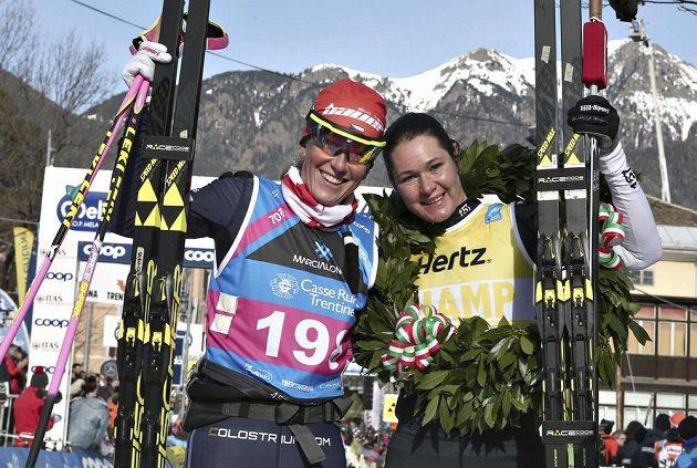 Běžkyně na lyžích Kateřina Smutná a Britta Johanssonová na Marcialonze.