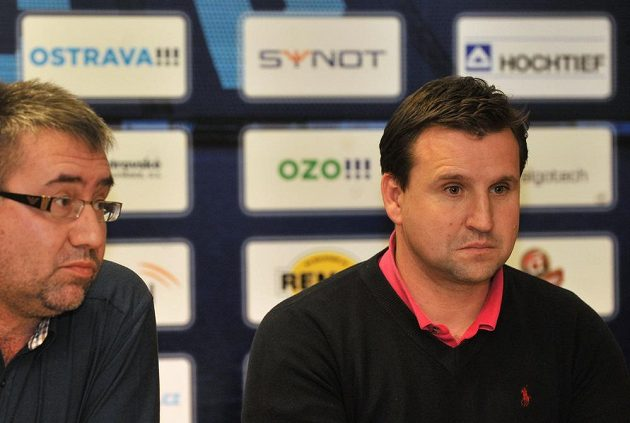 Kouč Ostravy Petr Frňka (vpravo) a majitel klubu Petr Šafarčík.