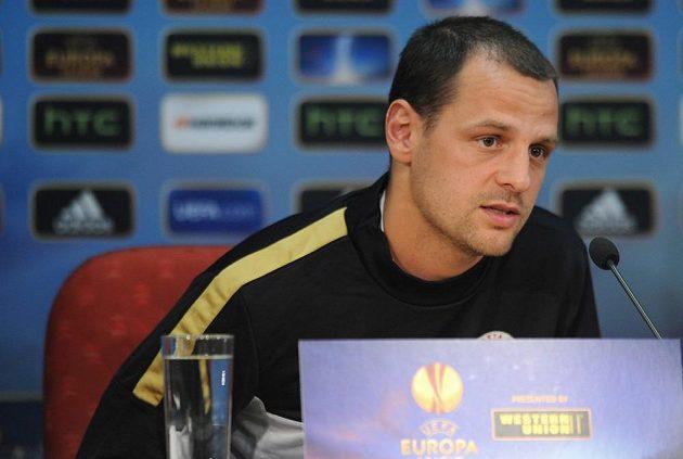 Záložník Marek Matějovský na středeční tiskové konferenci před utkáním Evropské ligy mezi Spartou a Chelsea.