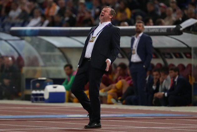 Trenér Plzně Pavel Vrba při utkání v Římě.