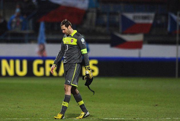Zklamaný reprezentační brankář Petr Čech po porážce od Dánska.
