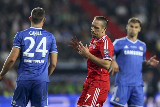 Nejlepší fotbalista Evropy Franck Ribéry z Bayernu Mnichov v duelu Superpoháru proti Chelsea.