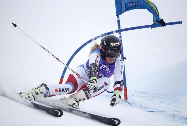 Švýcarská lyžařka Lara Gutová během druhého kola obřího slalomu v Aspenu.
