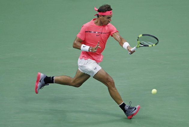 Rafael Nadal během zápasu 1. kola US Open.