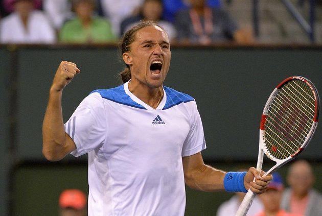 Ukrajinský tenista Alexandr Dolgopolov (na snímku) slaví v Indian Wells vítězství nad světovou jedničkou Rafaelem Nadalem.