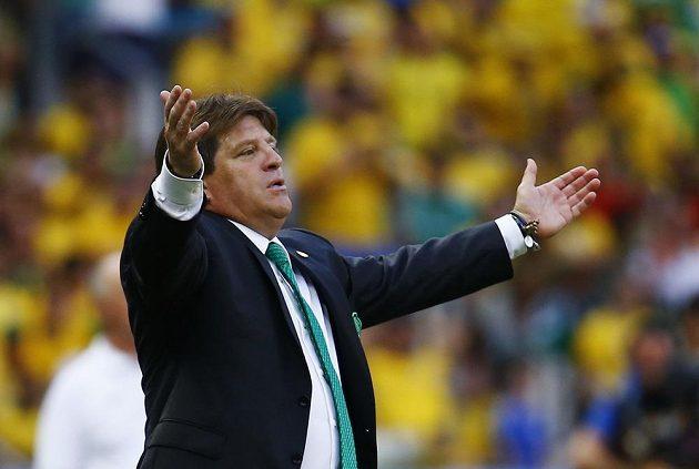 Trenér mexických fotbalistů Miguel Herrera v druhém duelu MS s Brazílií.