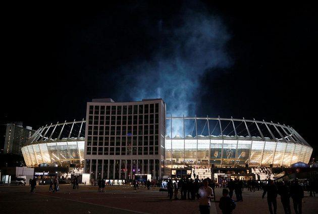 Kyjevský stadión po finále Ligy mistrů.