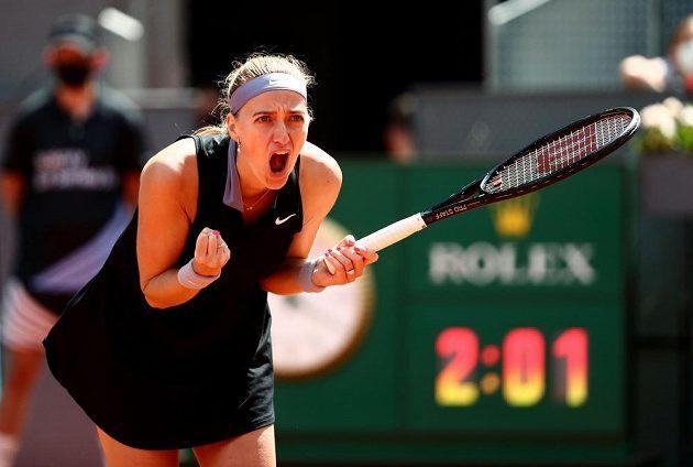 Emoce v podání české tenistky Petry Kvitové na turnaji v Madridu.