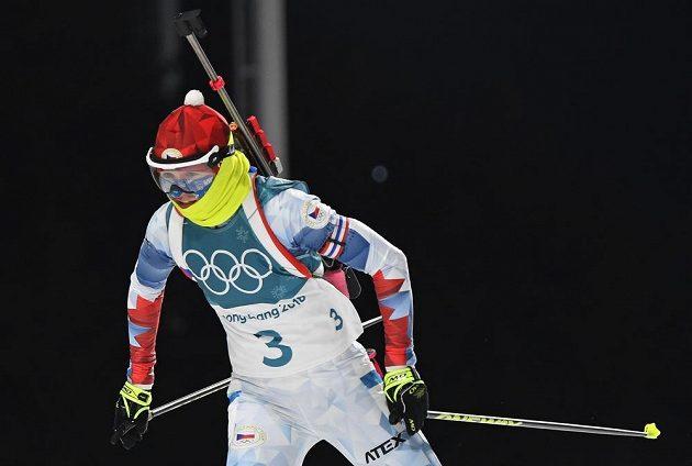 Česká biatlonistka Veronika Vítková bojuje ve stíhacím závodě.