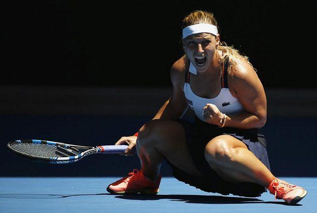 Slovenská tenistka Dominika Cibulková slaví vítězství nad Hsieh Su-Wei z Tchaj-wanu.