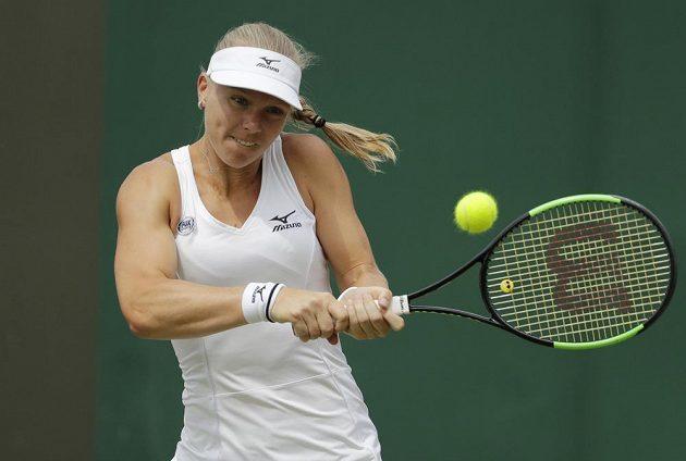 Nizozemská tenistka Kiki Bertensová v osmifinále Wimbledonu.