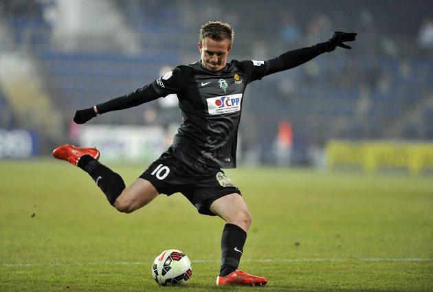 Jan Kopic z Jablonce během utkání se Slováckem.