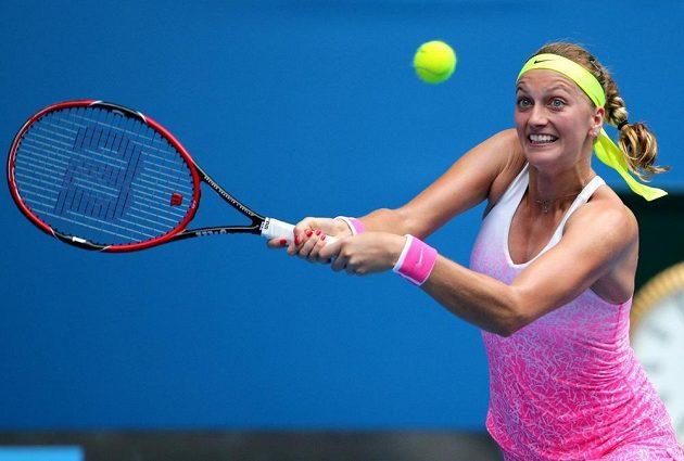 Petra Kvitová v zápase Australian Open s Monou Barthelovou z Německa