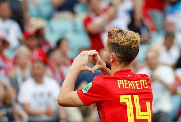 Belgičan Dries Mertens slaví gól proti Panamě.