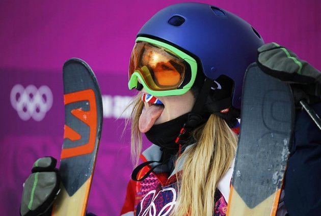 Reakce britské lyžařky Katie Summerhayesové v cíli slopestylu.