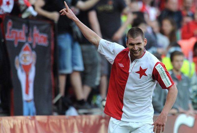 Záložník Slavie Martin Juhar dal Jablonci dva góly.