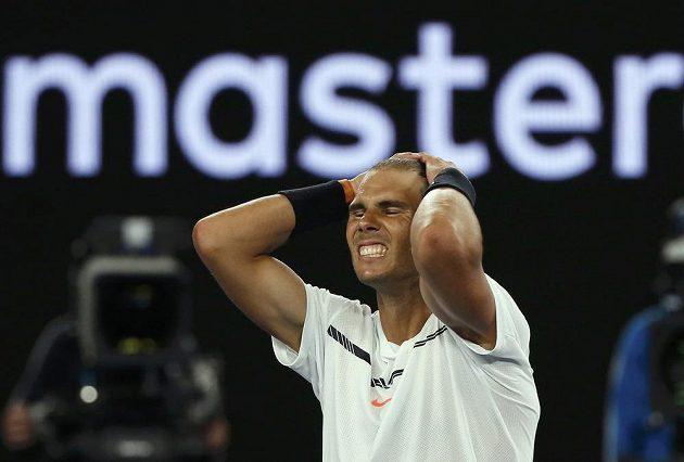 Španělský tenista Rafael Nadal postoupil do finále Australian Open. Vyhrál nad Bulharem Grigorem Dimitrovem a neskrýval radost.
