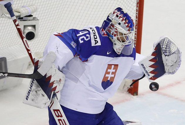Brankář slovenské hokejové reprezentace Patrik Rybár v akci na mistrovství světa.