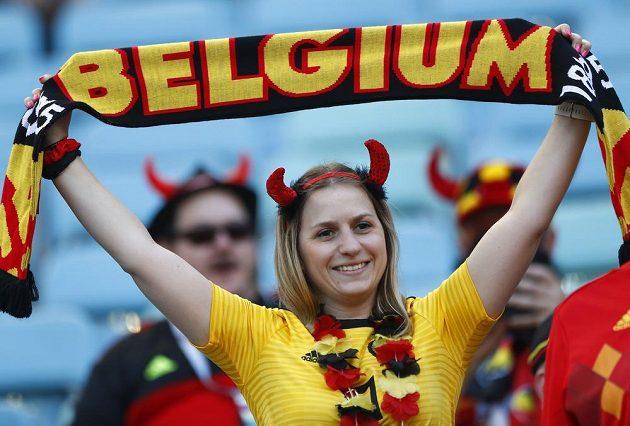 Belgická fanynka před utkáním s Panamou.