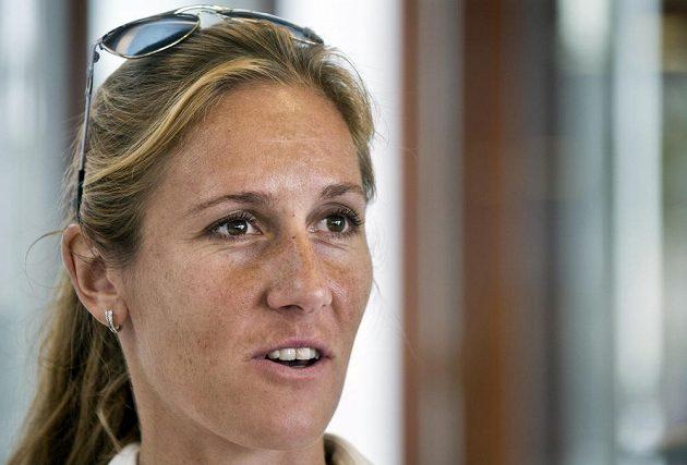 Skifařka Mirka Knapková na tiskové konferenci před mistrovstvím světa ve veslování v Amsterdamu.