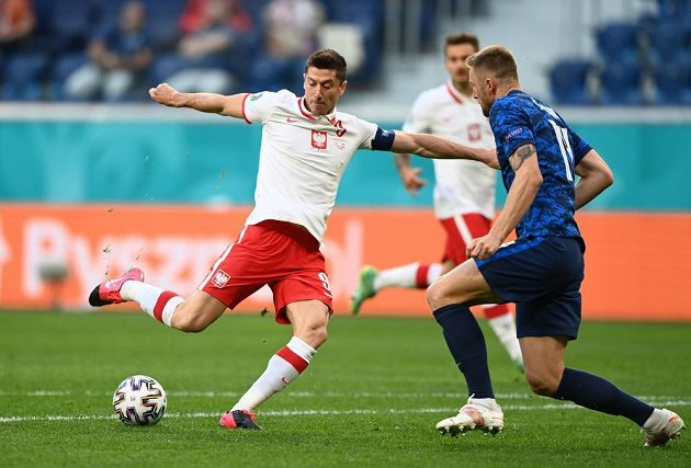 Polish bomber Robert Lewandowski shoots at Slovakia's goal during the EURO.