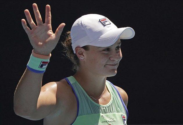 Radostné gesto vítězné Australanky Ashleigh Bartyové.