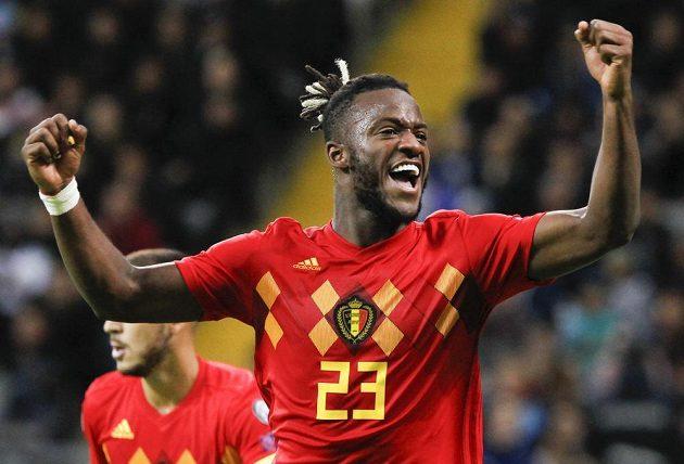Belgická radost. Michy Batshuayi slaví gól, který vstřelil v kvalifikaci o postup na EURO 2020 do sítě Kazachstánu.