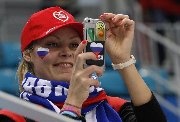 Fanynka ruských hokejistů na olympiádě.