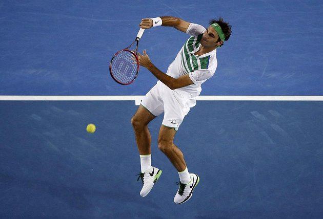 Švýcar Roger Federer v utkání s Grigorem Dimitrovem ve 3. kole Australian Open.
