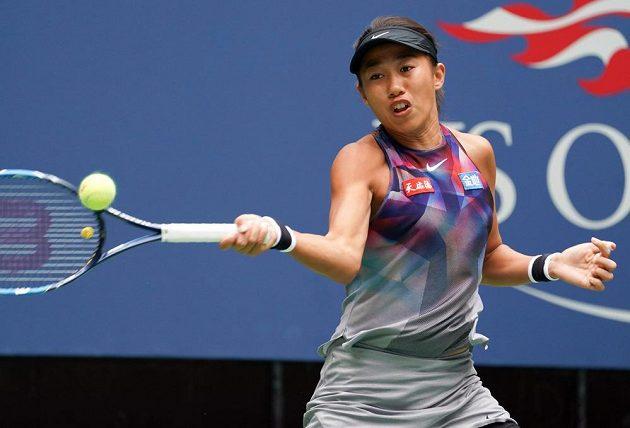 Čang Šuaj během prvního setu zápasu s Karolínou Plíškovou na US Open.